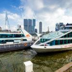 Die Schiffe der Firma Spido, mit denen die Hafenrundfahrten in Rotterdam durchgeführt werden
