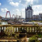 Blick von den Kubushäusern auf den Oude Haven, das Witte Huis und die Willemsbrug