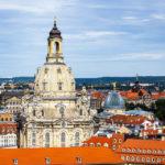 Ausblick vom Turm der Kreuzkirche auf die Frauenkirche in Dresden