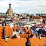 Ausblick vom Hausmannsturm im Residenzschloss auf die Dresdner Frauenkirche