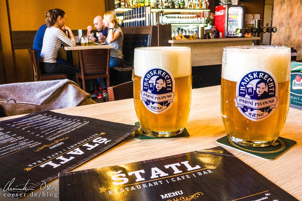 Hauskrecht-Bier im Lokal ŠTATL in Brünn