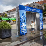 Abkühlung auf dem Freiheitsplatz von Maribor