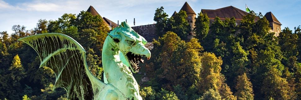 Drachenbrücke und Burg in Ljubljana