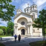 Außenansicht der serbisch-orthodoxen Kyrill-und-Method-Kirche in Ljubljana