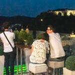 Aussicht vom Wolkenkratzer Nebotičnik auf die Altstadt und die Burg von Ljubljana