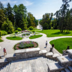 Blick vom Tivoli-Schloss auf den Tivoli-Park in Ljubljana