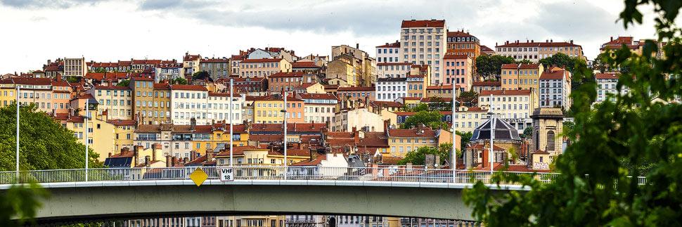 Blick auf das Viertel Croix-Rousse in Lyon