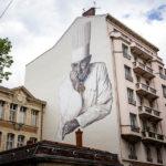 Ein Wandgemälde (Murals) des verstorbenen Starkochs Paul Bocuse in Lyon