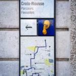 Ein Symbol und eine Informationstafel über einen von mehreren Stadtrundgängen in Lyon