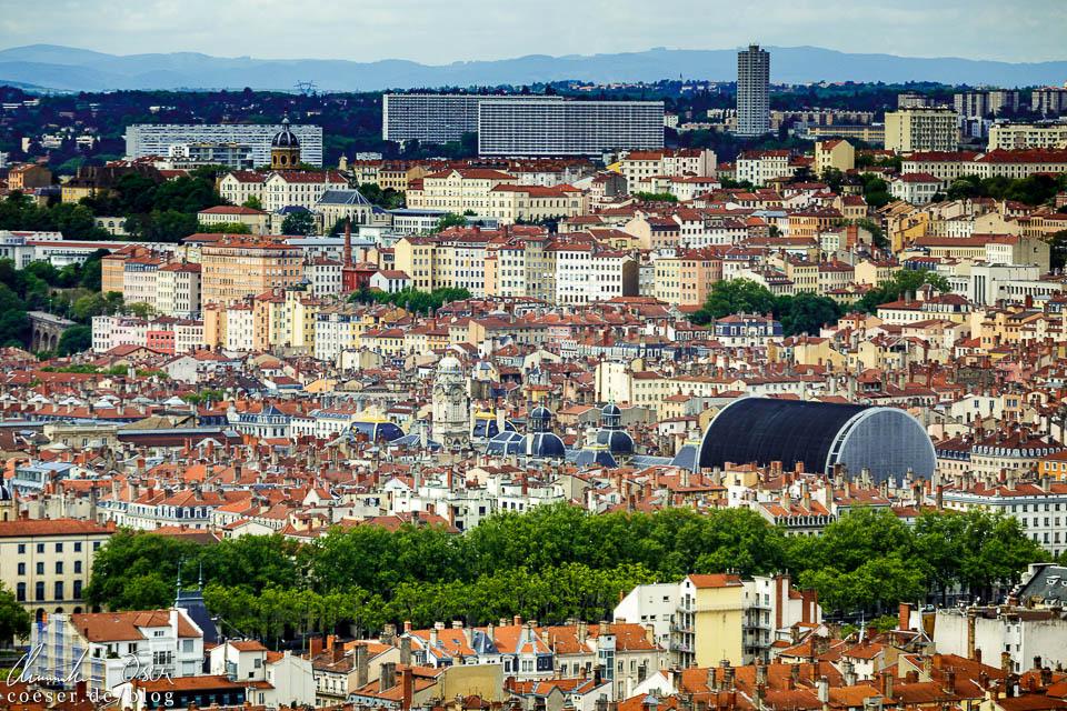 Ausblick vom Barbereich des Radisson Blu Hotels in Lyon