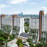 Blick vom Dach des Wohnparks Alterlaa auf die anderen Wohnblöcke während Open House Wien 2018