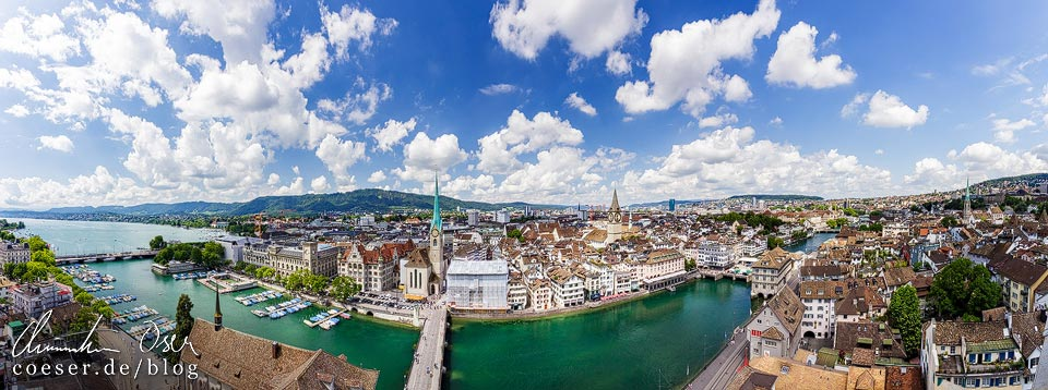Panoramaaufnahme Zürichsee und Zürcher Innenstadt