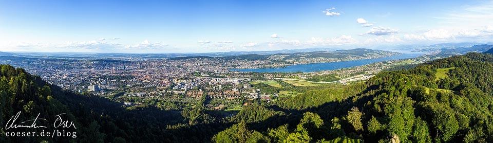 Panorama von Zürich und dem Zürisee vom Uetliberg aus gesehen