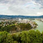 Aussicht von der Franz-Josefs-Warte auf dem Freinberg in Linz