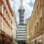 Blick auf den Höhenrausch-Turm in der Linzer Altstadt