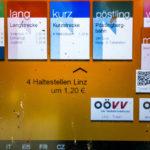 Optionen an einem Fahrscheinautomaten in Linz