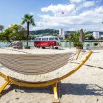 Strand und Palmen im Lokal Sandburg in Linz