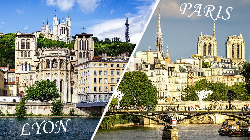 Stadtansichten von Lyon und Paris