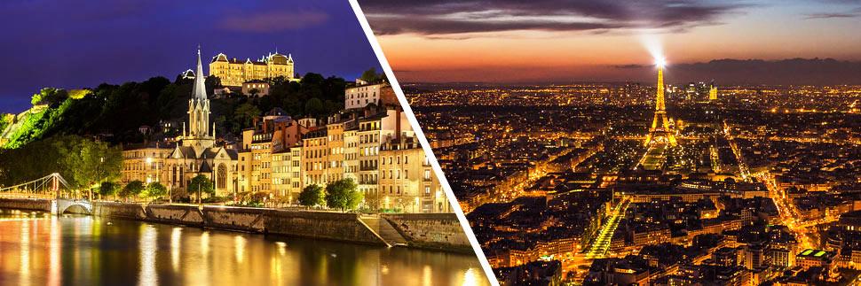 Abendliche Stadtansichten von Lyon und Paris