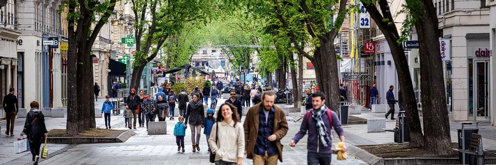 Die Einkaufsstraße Rue de la Republique in Lyon