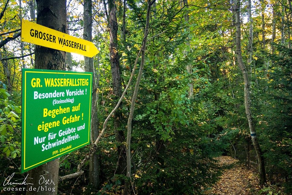 Wegweiser zum Wasserfallsteig auf dem Muckenkogel (Lilienfeld)