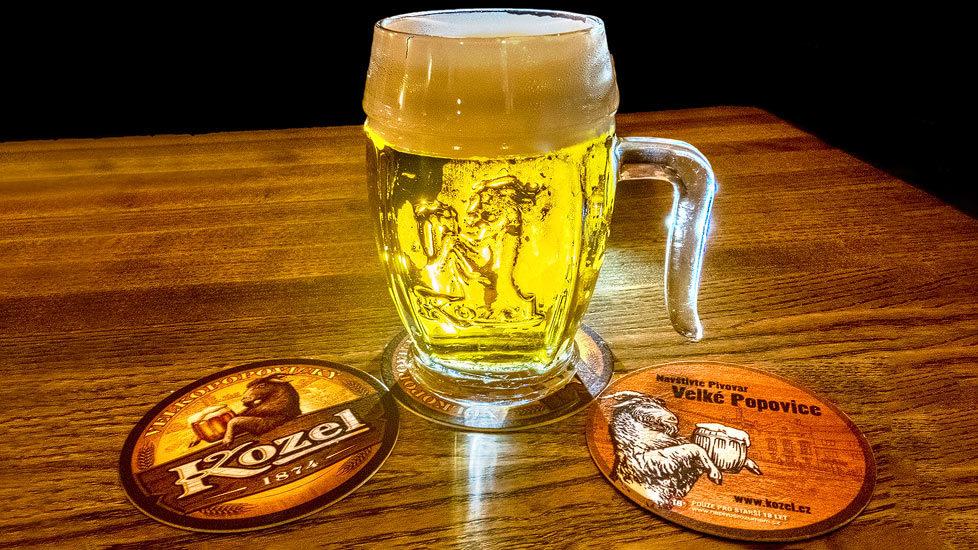 Ein Glas Kozel-Bier in der Brauerei Velké Popovice