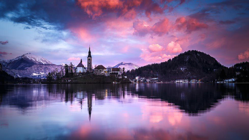 Intensiver Sonnenuntergang in Bled