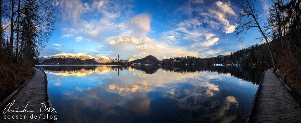 Panorama des Bleder Sees kurz vor Sonnenuntergang