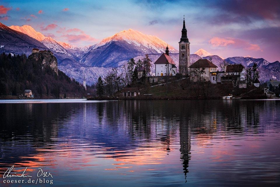 Sonnenuntergang am Bleder See