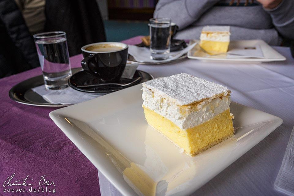 Bleder Cremeschnitte im Café des Hotel Park in Bled