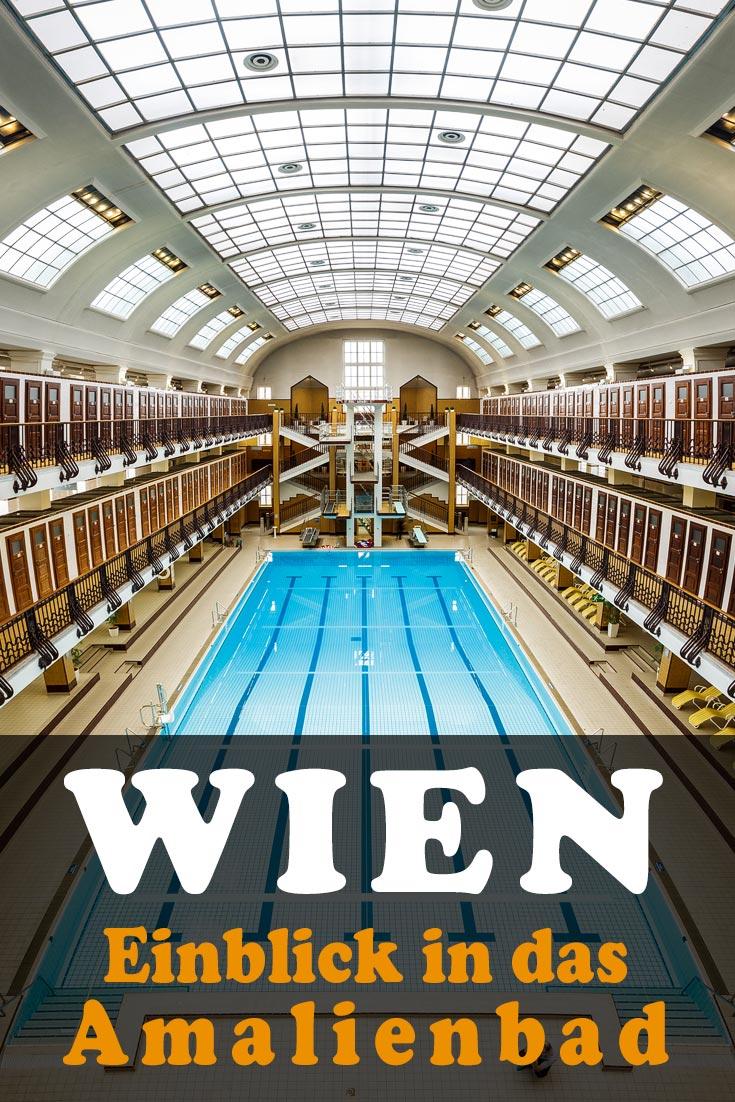 Amalienbad in Wien: Architektonischer Einblick mit Fotos der großen Schwimmhalle, Art-Déco-Dampfbäder und weiteren Eindrücken.