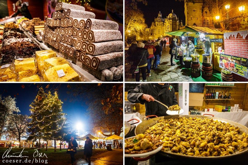 Produkte auf dem Weihnachtsmarkt vor dem Schloss Vajdahunyad in Budapest