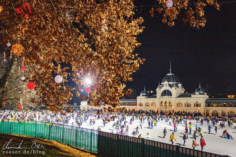 Eislaufplatz vor dem Weihnachtsmarkt vor dem Schloss Vajdahunyad in Budapest
