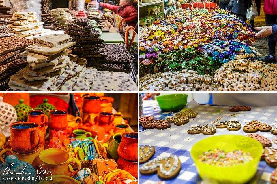 Produkte auf dem Weihnachtsmarkt vor der St.-Stephans-Basilika in Budapest
