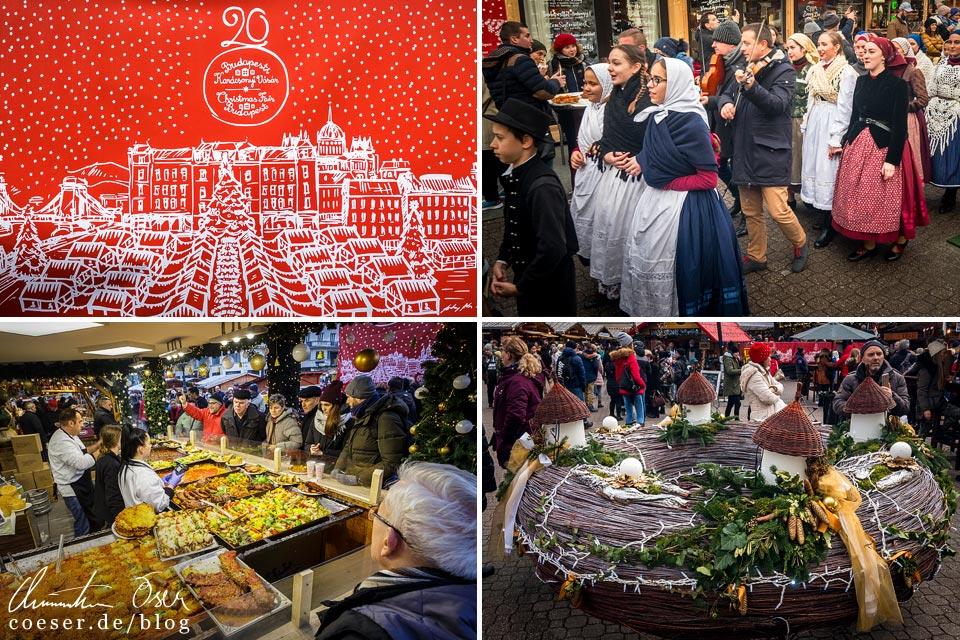 Eindrücke vom Weihnachtsmarkt am Platz Vörösmarty tér in Budapest