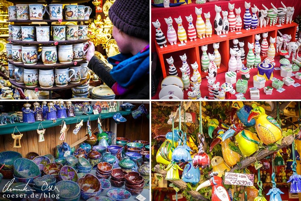 Kunsthandwerk am Weihnachtsmarkt am Platz Vörösmarty tér in Budapest