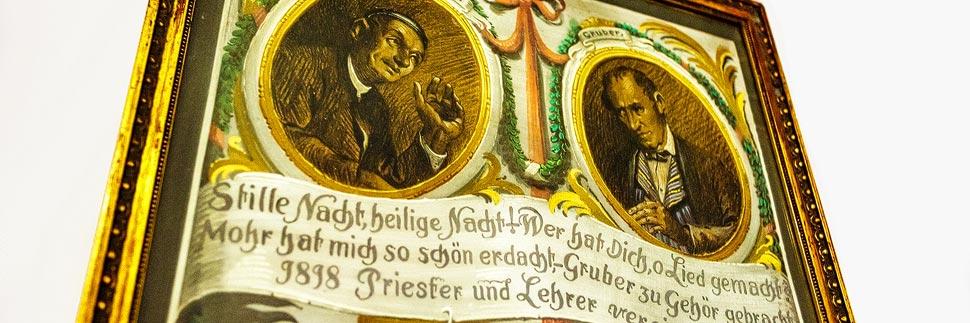 Franz Xaver Gruber und Joseph Mohr auf einem Gemälde