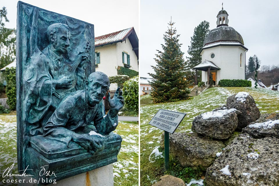 Denkmal für Joseph Mohr und Franz Xaver Gruber vor der Stille-Nacht-Kapelle in Oberndorf bei Salzburg