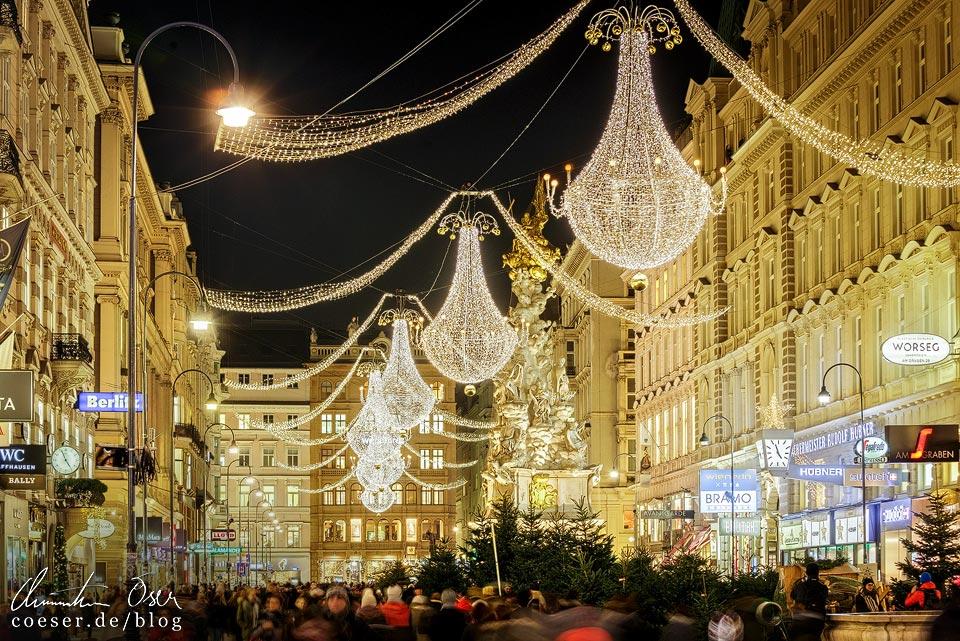 Lichtluster am Graben unweit des Stephansplatzes in Wien