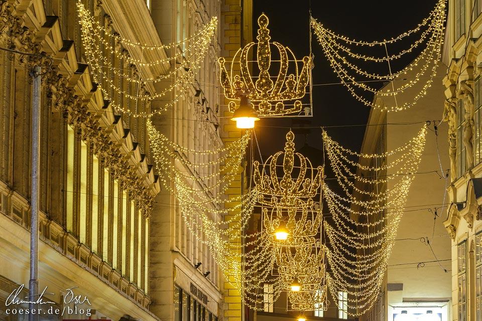 Weihnachtsbeleuchtung in der Habsburgergasse in Wien