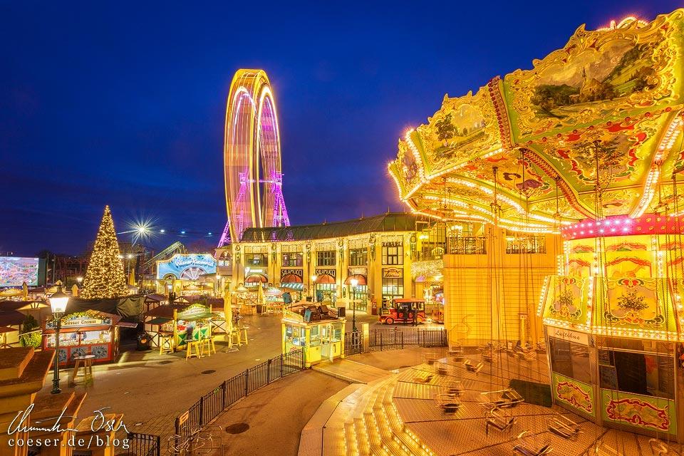 Wintermarkt vor dem Riesenrad im Wiener Wurstelprater