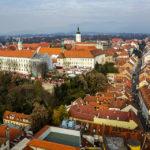 Blick auf die Zagreber Oberstadt vom Hochhaus Zagreb 360°