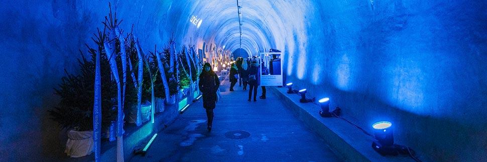 Weihnachtsbeleuchtung im Grič-Tunnel in Zagreb