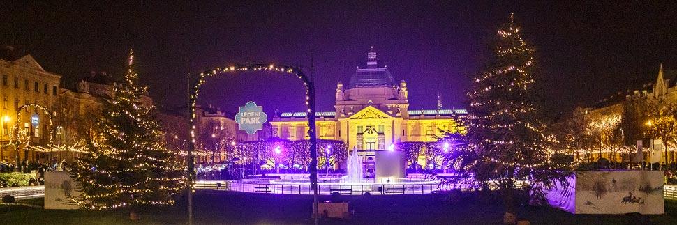 Beleuchteter Weihnachtsmarkt im Ledeni Park in Zagreb