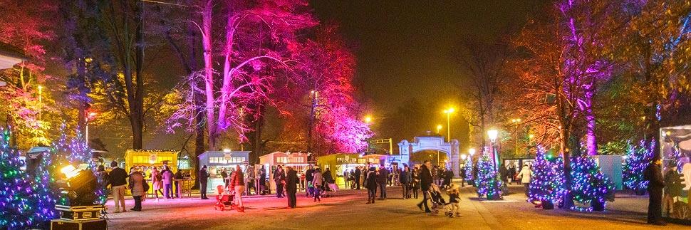 Beleuchteter Weihnachtsmarkt im Maksimir-Park in Zagreb