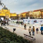 Der Eispark vor dem Kunstpavillon im Ledeni Park von Zagreb