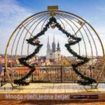 Aussicht von der Strossmayer-Promenade auf die Kathedrale von Zagreb