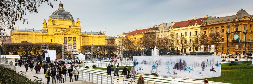Der Kunstpavillon auf dem Grünen Hufeisen in Zagreb
