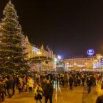 Der weihnachtlich geschmückte Ban-Jelačić-Platz in Zagreb