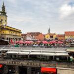 Blick von unserem Hotelzimmer auf den Dolac-Markt in Zagreb